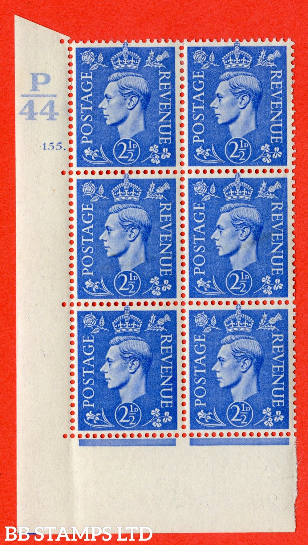 "SG. 489. Q14. 2½d Light ultramarine. A fine lightly mounted mint "" Control P44 cylinder 155 dot "" control block of 6 with perf type 5 E/I."