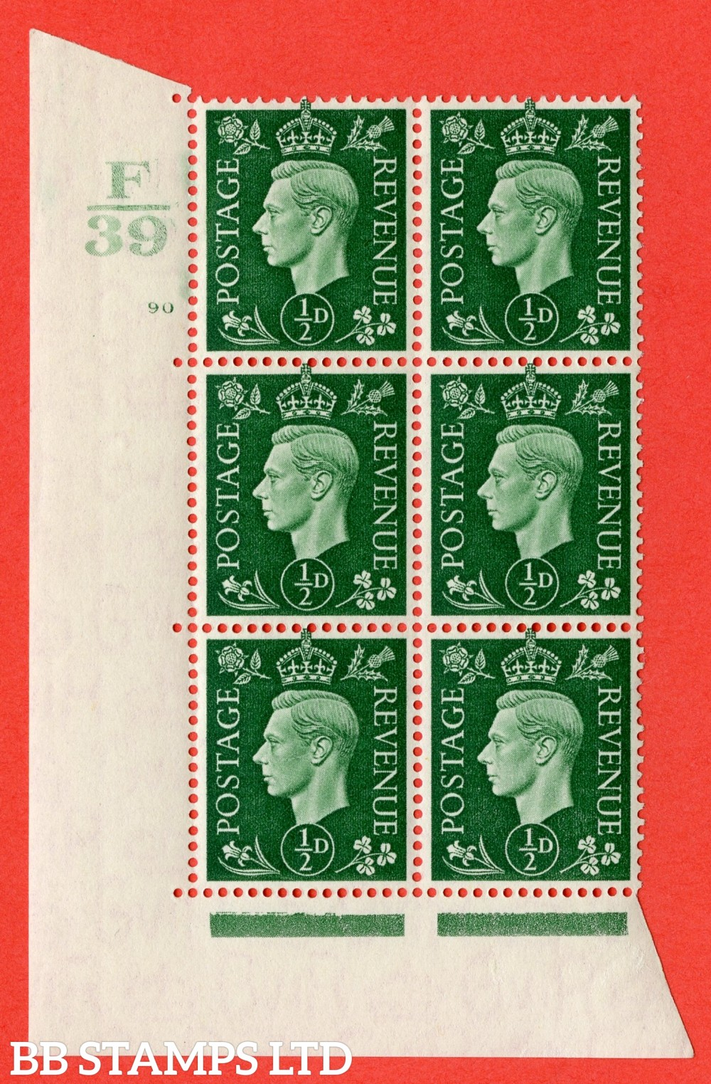 "SG. 462. Q1. ½d Green. A superb UNMOUNTED MINT "" Control F39 cylinder 90 no dot "" block of 6 with perf type 5 E/I with marginal rule."