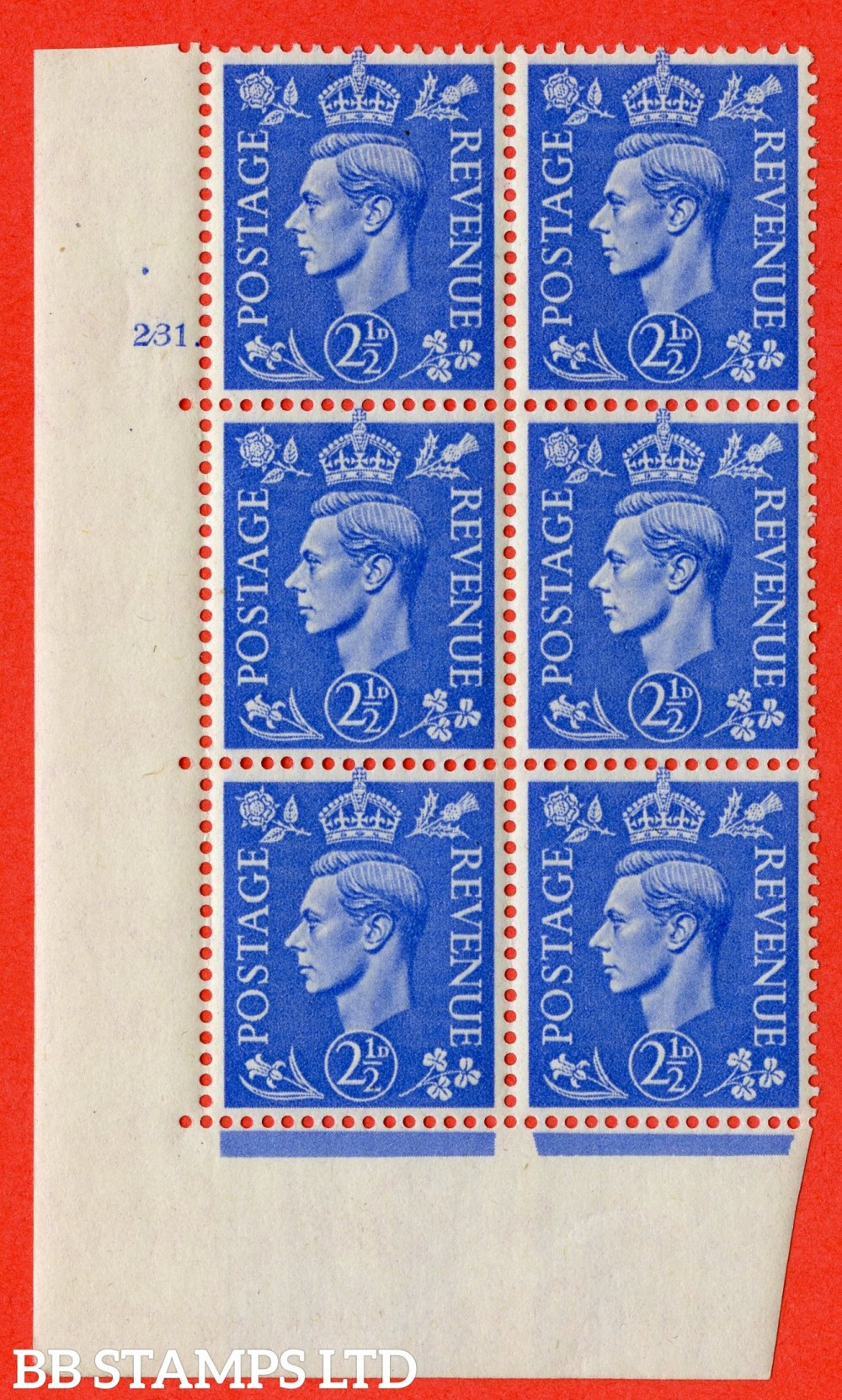 "SG. 489. Q14. 2½d Light ultramarine. A fine lightly mounted mint "" No Control cylinder 231 dot "" control block of 6 with perf type 5 E/I"