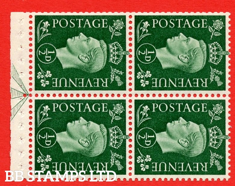 """SG. 462 ab. QB2a. ½d green. SIDEWAYS WATERMARK LEFT. A superb UNMOUNTED MINT complete booklet pane of Four. Perf type """" E """". Good Perfs."""
