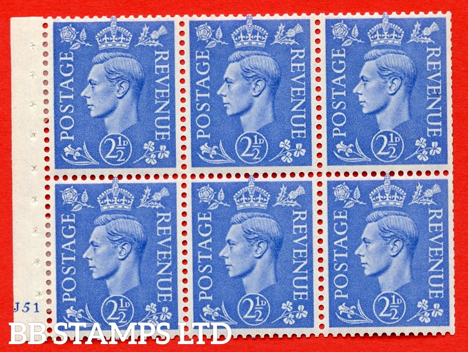 """SG. 489f. QB33. 2½d blue. A fine MOUNTED MINT complete Cylinder pane of 6 J51 No dot. Perf type """"B3(I)"""". Trimmed Perfs."""