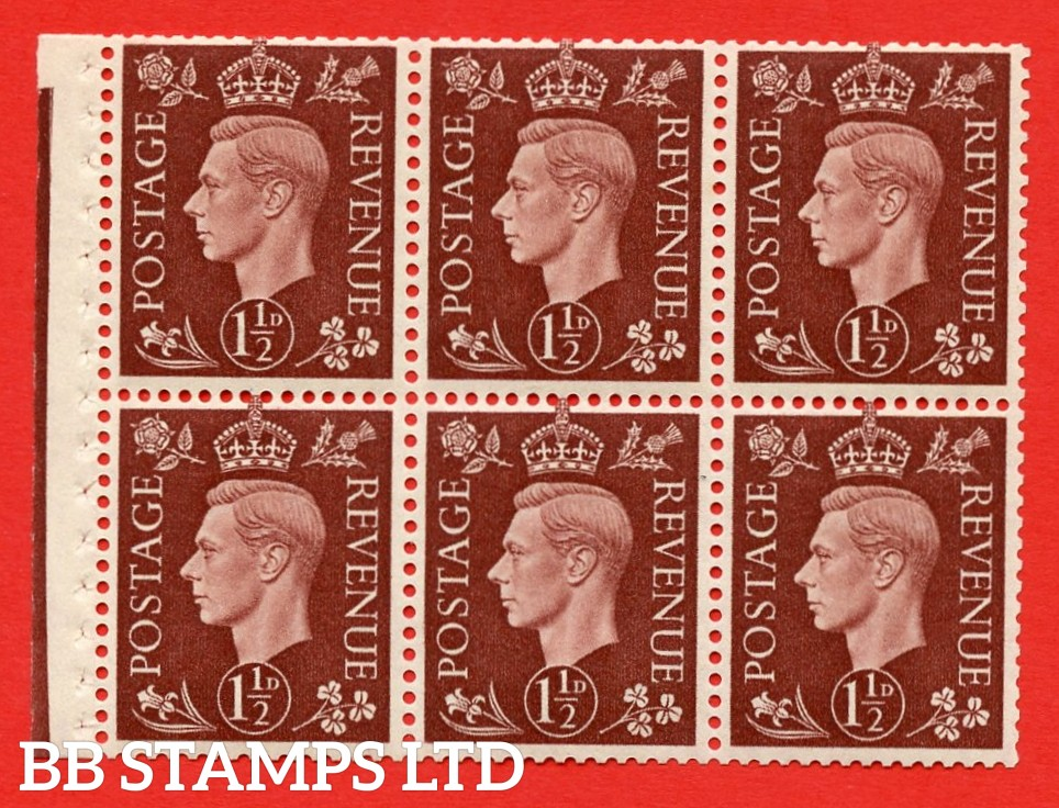 QB21 Perf Type I 1½d Red-Brown x 6 Pane, MOUNTED MINT Watermark Upright. ( SG. 464c ) Perf type I. Good Perfs.