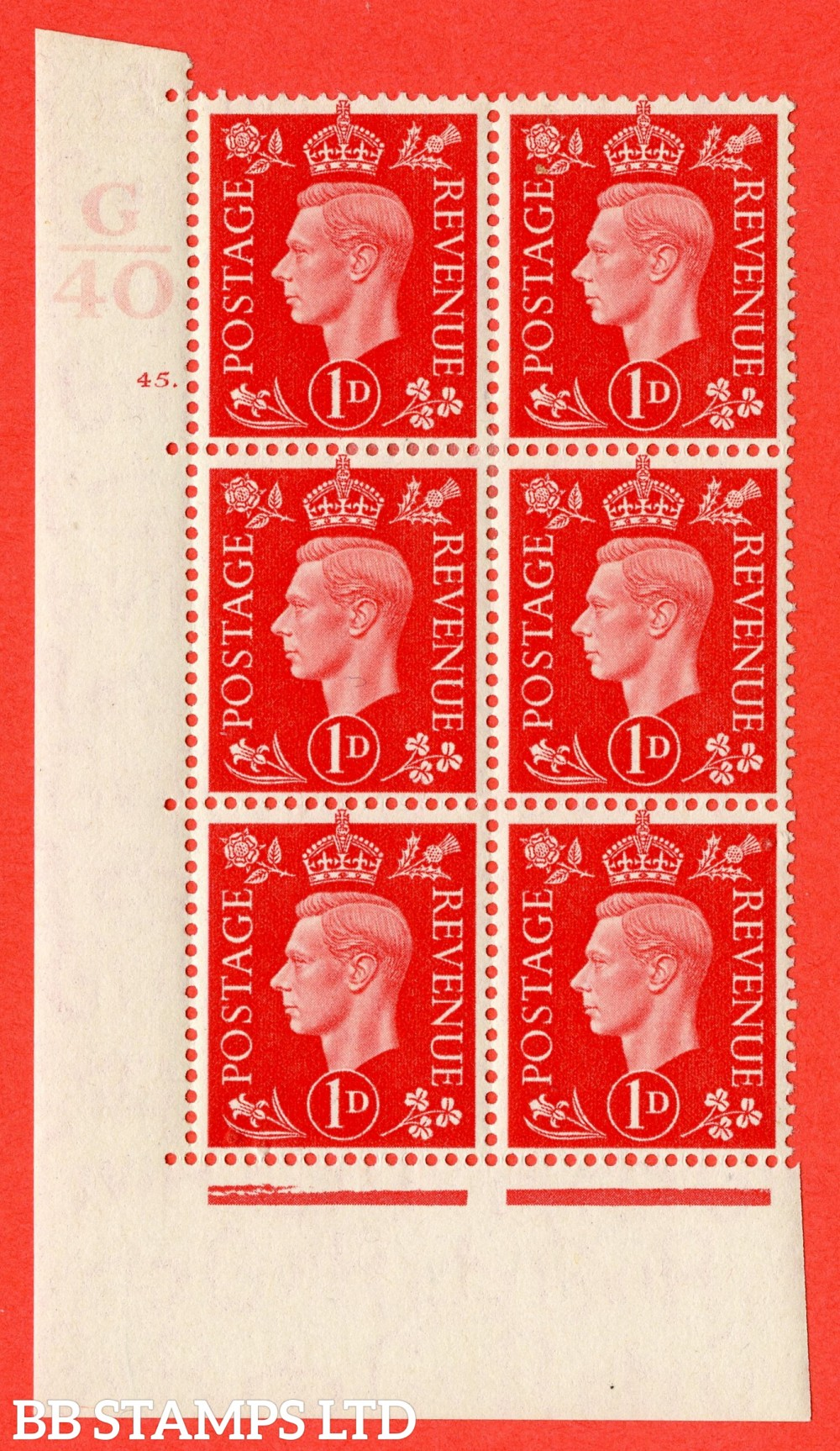 "SG. 463. Q4. 1d Scarlet. A fine lightly mounted mint "" Control G40 cylinder 45 dot "" block of 6 with perf type 5 E/I."