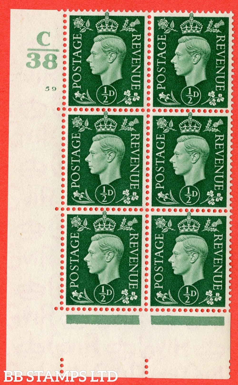 "SG. 462. Q1. ½d Green. A superb UNMOUNTED MINT "" Control C38 cylinder 59 no dot "" block of 6 with perf type 5 E/I."