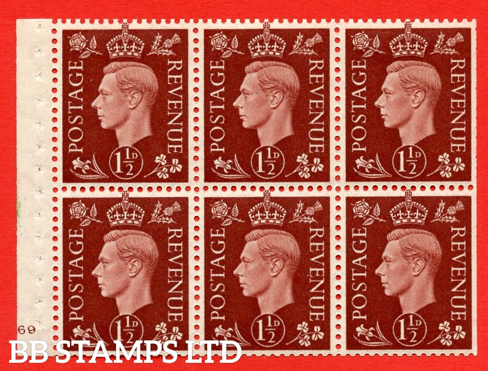 QB21 Perf Type B3(I) 1½d Red-Brown x 6 Pane, MOUNTED MINT Watermark Upright. Cylinder Pane G69 no dot ( SG. 464c ) Perf type B3(I). Trimmed Perfs.
