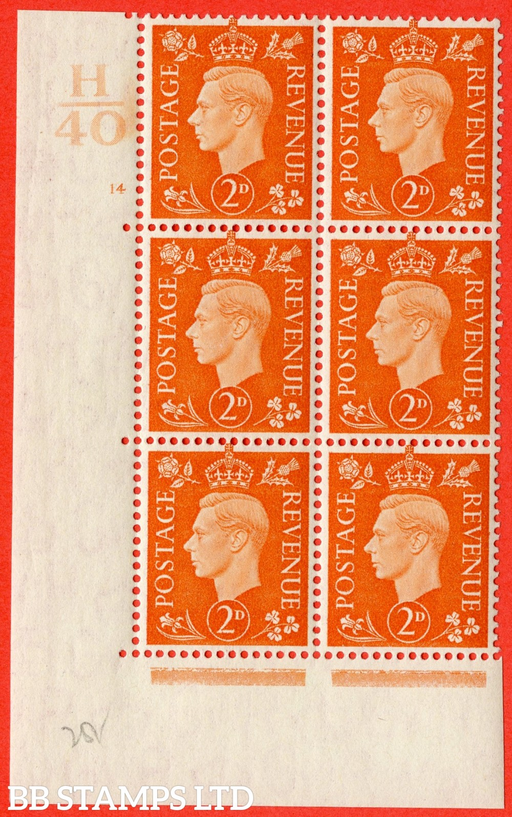 "SG. 465. Q10. 2d Orange. A fine lightly mounted mint "" Control H40 cylinder 14 no dot "" control block of 6 with perf type 5 E/I."