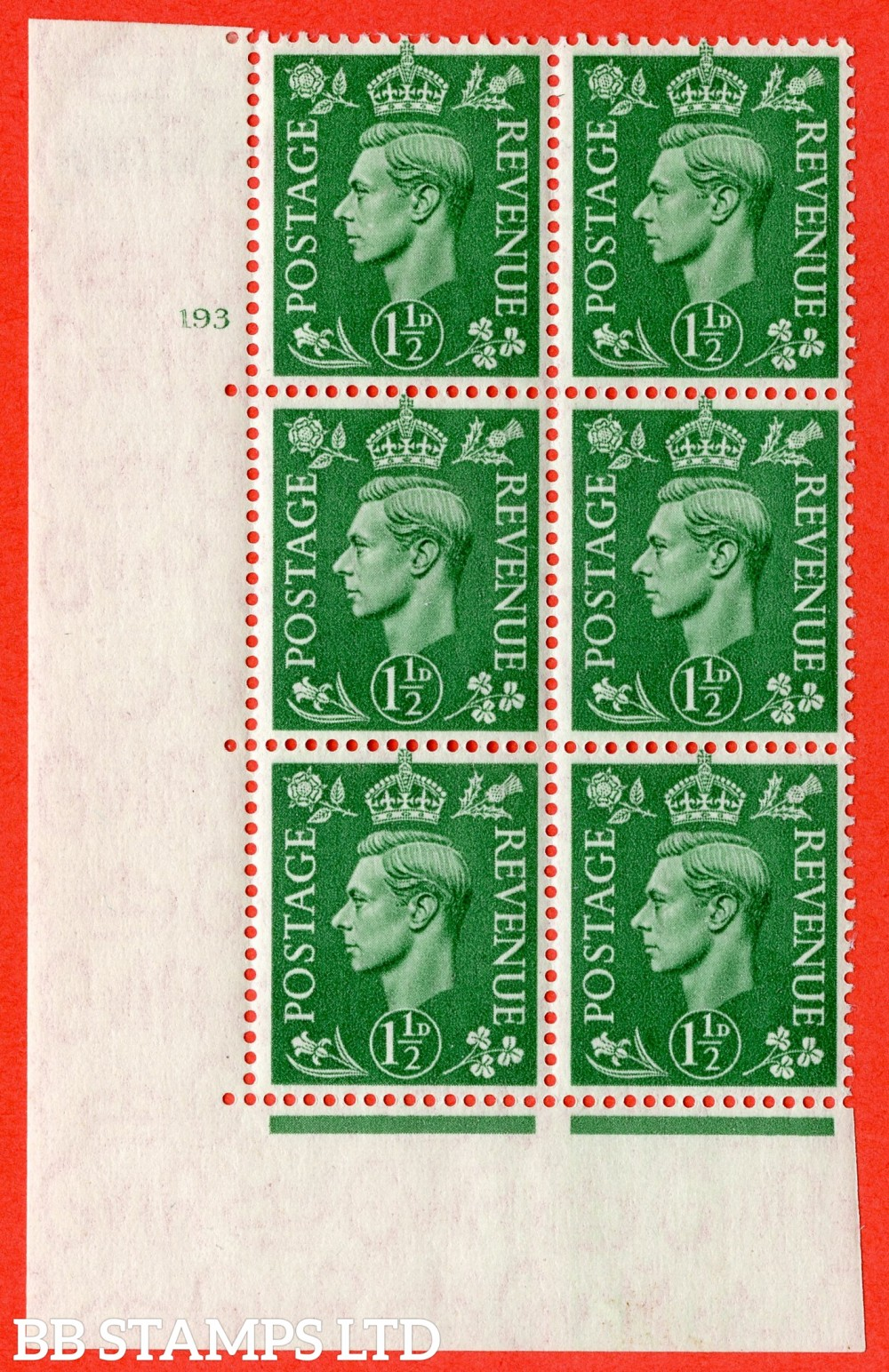 """SG. 505. Q9. 1½d Pale Green. A fine lightly mounted mint """" No Control cylinder 193 no dot """" control block of 6 with perf type 5 E/I"""