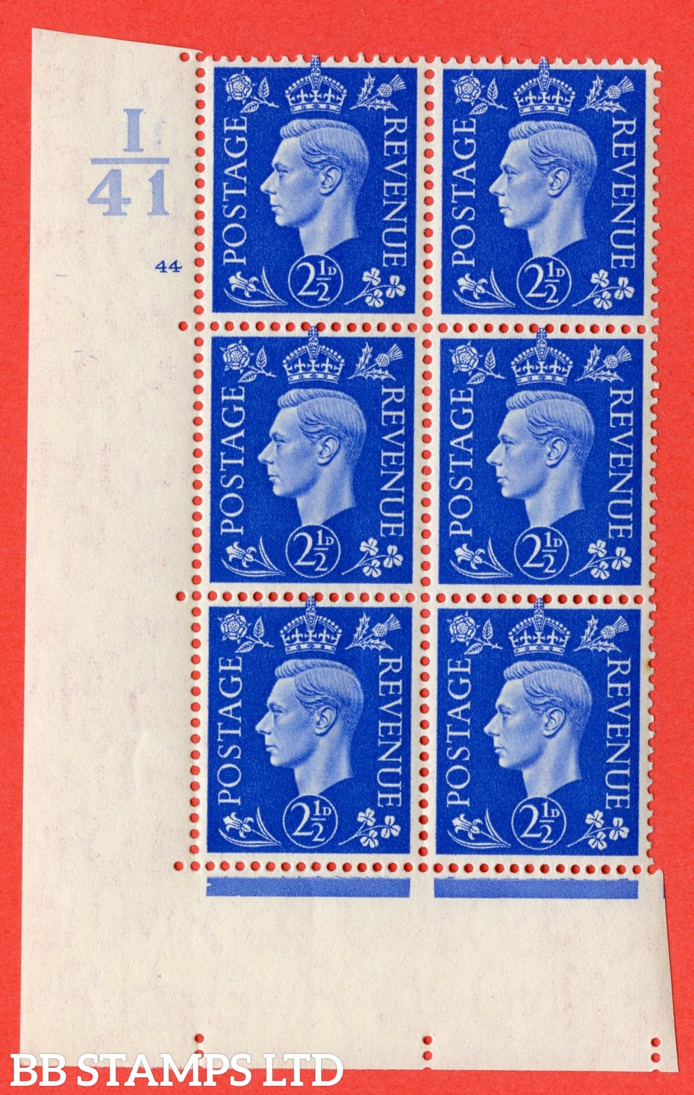 "SG. 466. Q13. 2½d Ultramarine. A superb UNMOUNTED MINT "" Control I41 cylinder 44 no dot "" control block of 6 with perf type 5 E/I."