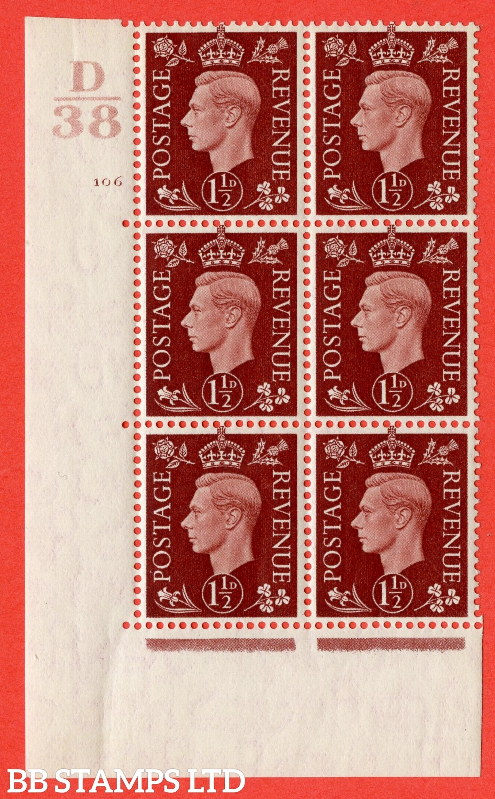 """SG. 464. Q7. 1½d Red-Brown. A superb UNMOUNTED MINT """" Control D38 cylinder 106 no dot """" block of 6 with perf type 5 E/I."""