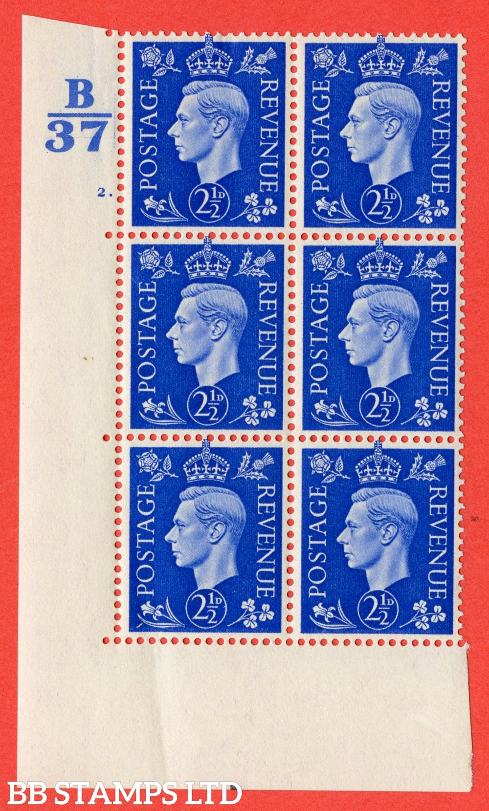 "SG. 466. Q13. 2½d Ultramarine. A superb UNMOUNTED MINT "" Control B37 cylinder 2 dot "" control block of 6 with perf type 5 E/I"