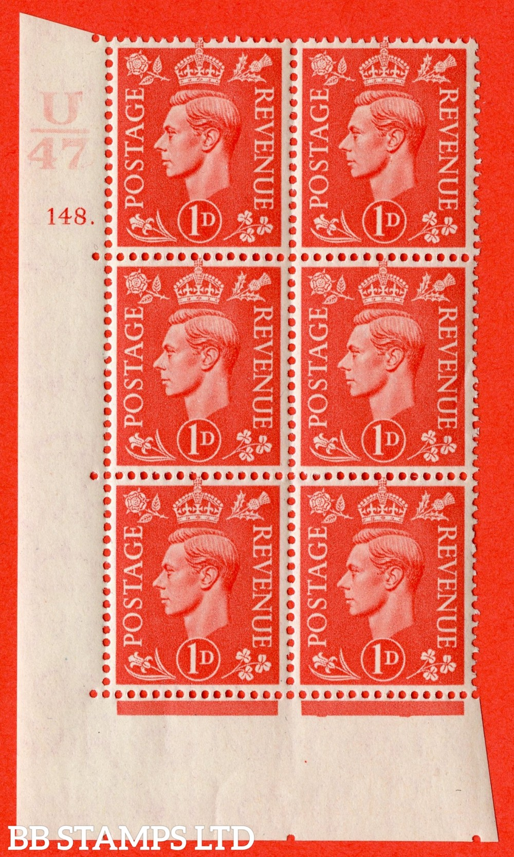 "SG. 486. Q5. 1d Pale scarlet. A superb UNMOUNTED MINT "" Control U47  cylinder 148 dot "" control block of 6 with perf type 5 E/I."