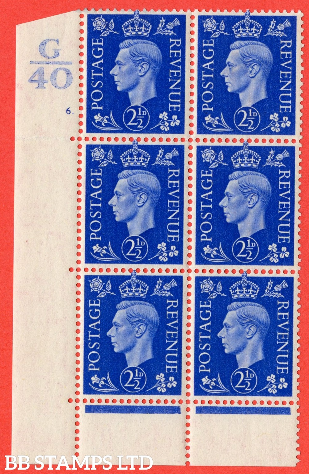 "SG. 466. Q13. 2½d Ultramarine.  A Superb UNMOUNTED MINT "" Control G40 cylinder 6 (ii) dot "" control block of 6 with perf type 6B E/P."