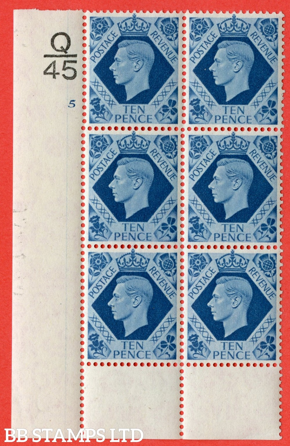 "SG. 474. Q26. 10d Turquoise-Blue. A fine lightly mounted mint "" Control Q45 cylinder 5 no dot "" control block of 6 with perf type 6 I/P."