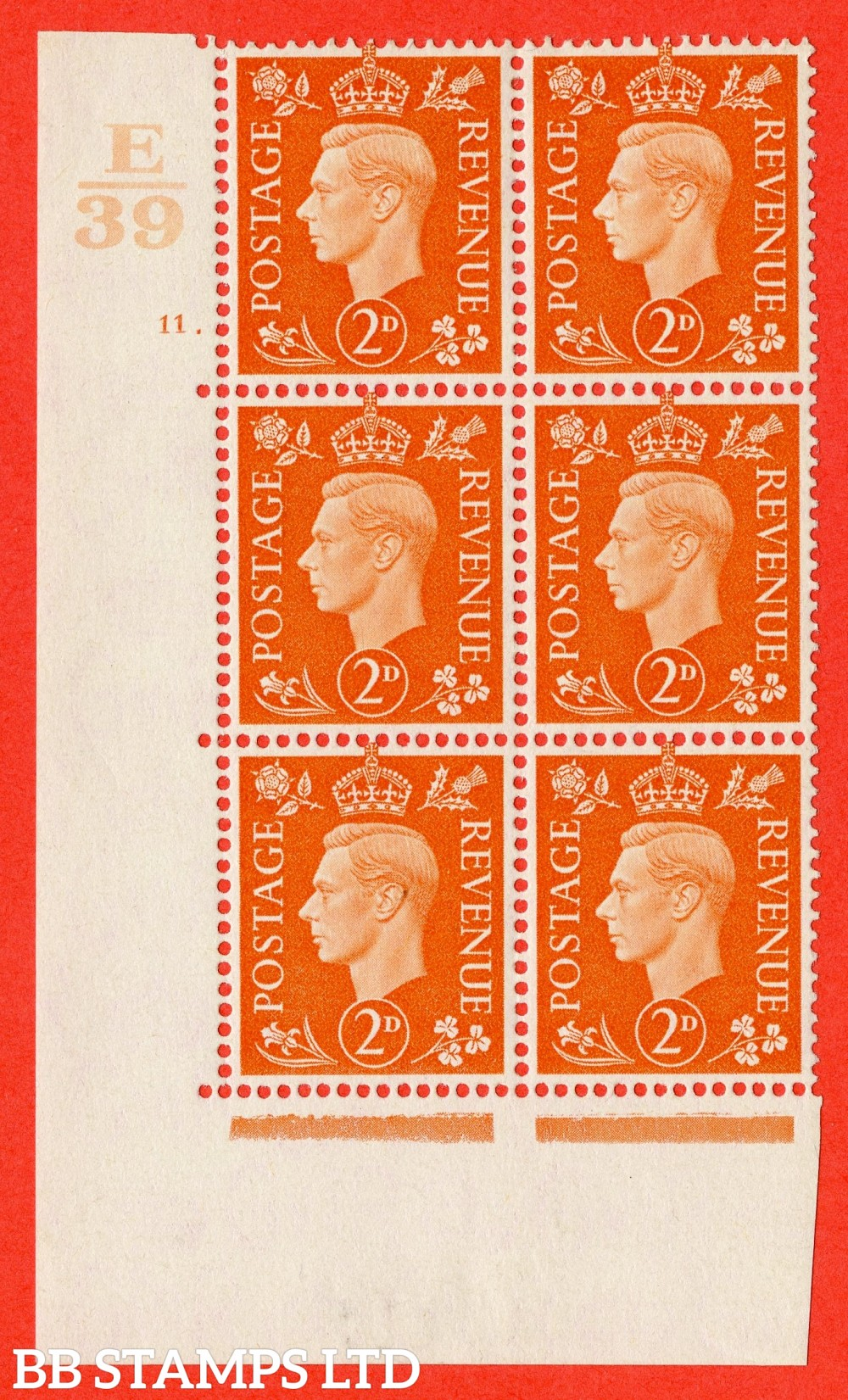 "SG. 465. Q10. 2d Orange. A fine lightly mounted mint "" Control E39 cylinder 11 dot "" control block of 6 with perf type 5 E/I."