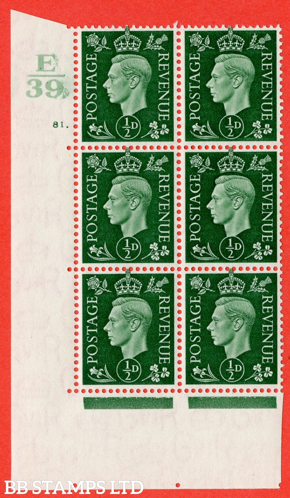 "SG. 462. Q1. ½d Green. A fine lightly mounted mint "" Control E39 cylinder 81 dot "" block of 6 with perf type 5 E/I."