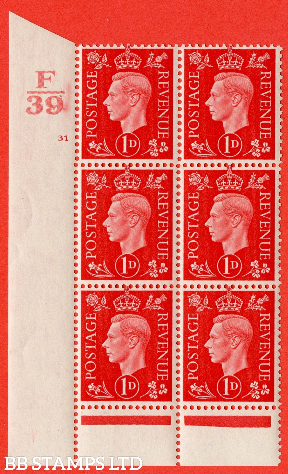 "SG. 463. Q4. 1d Scarlet. A superb UNMOUNTED MINT "" Control F39 cylinder 31 no dot "" block of 6 with perf type 6 I/P."