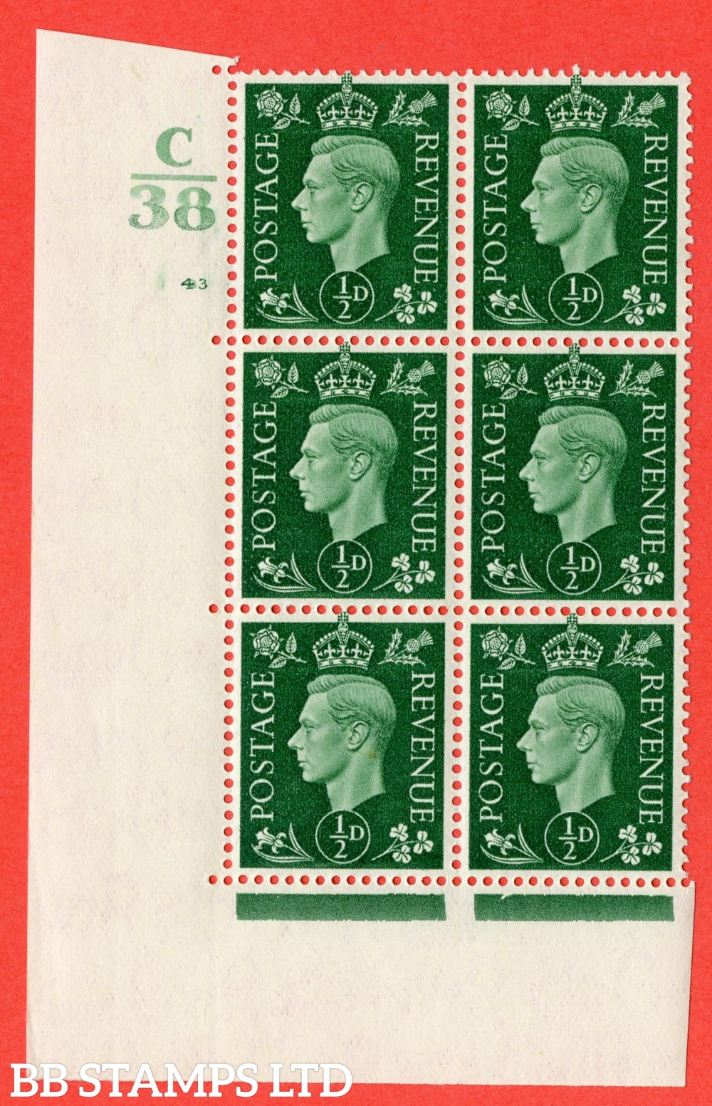 """SG. 462. Q1. ½d Green. A superb UNMOUNTED MINT """" Control C38 cylinder 43 (ii) no dot """" block of 6 with perf type 5 E/I."""