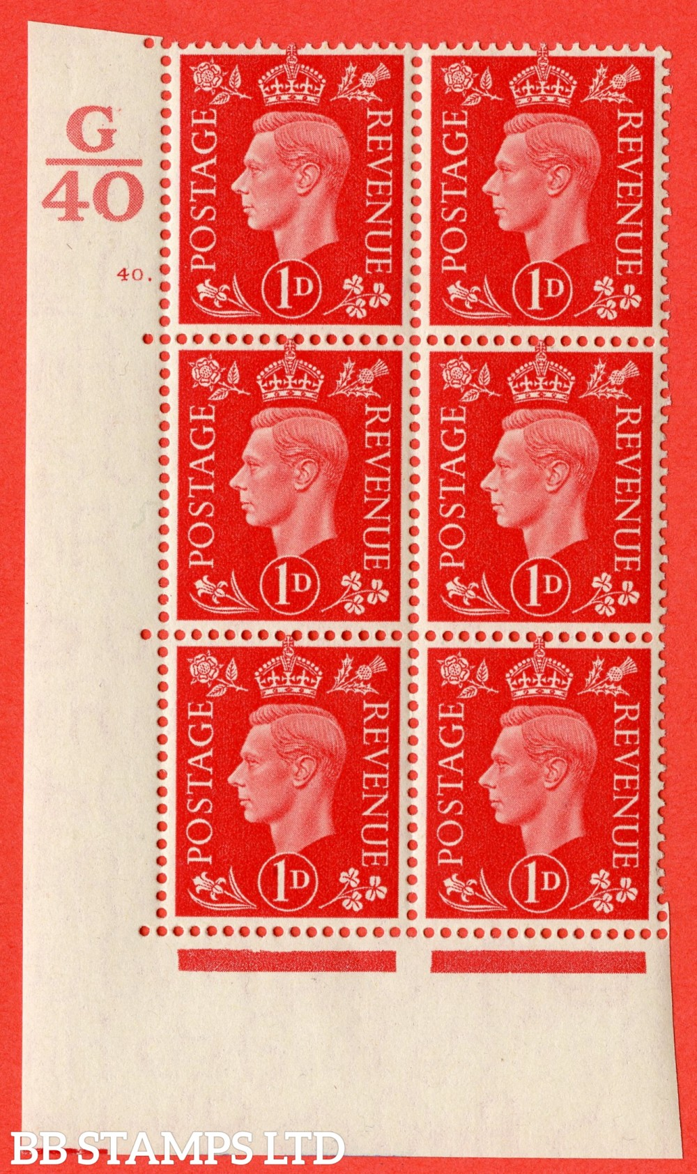 "SG. 463. Q4. 1d Scarlet. A superb UNMOUNTED MINT"" Control G40 cylinder 40 dot "" block of 6 with perf type 5 E/I."