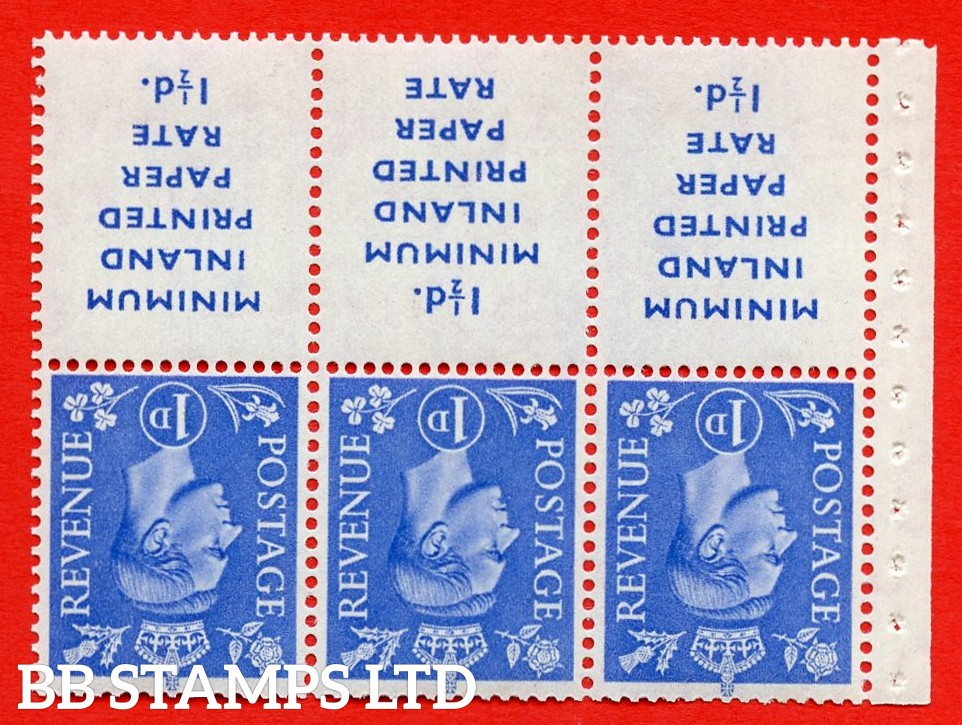 """SG. 504dw. QB18a. 1d ultramarine. A fine UNMOUNTED MINT example with """" MINIMUM INLAND PRINTED PAPER RATE """" 17 mm high. Perf type """" Ieb """". Good Perf."""
