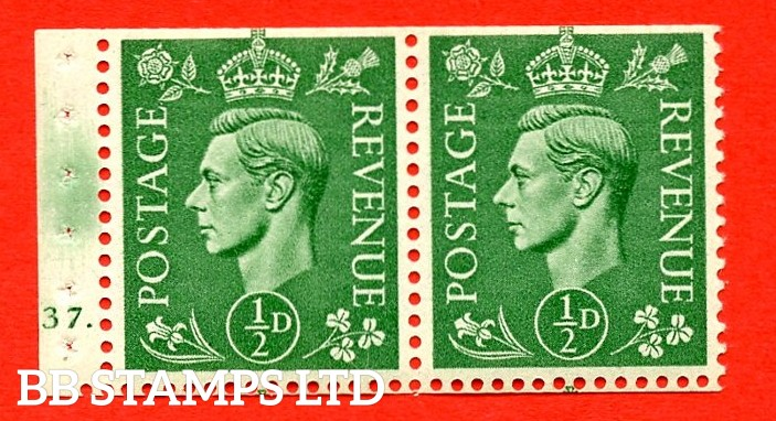 """SG. 485e. QB6. ½d . Pale Green A fine UNMOUNTED MINT.  complete Cylinder pane of 2 137 Dot. Perf type """"E"""". Trimmed Perfs."""