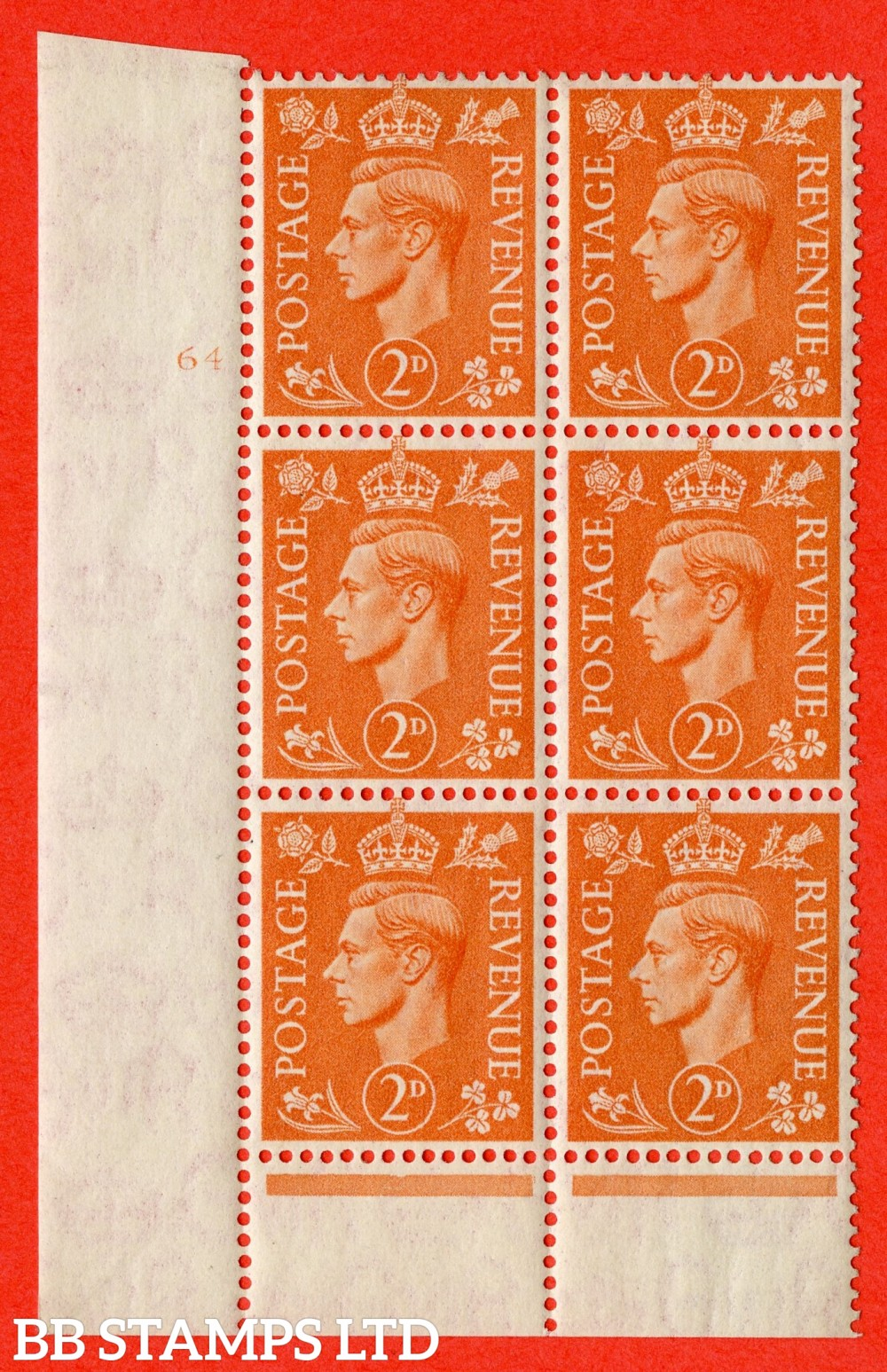 "SG. 488. Q11. 2d Pale Orange. A superb UNMOUNTED MINT "" No Control cylinder 64 no dot "" control block of 6 with perf type 6 I/P"