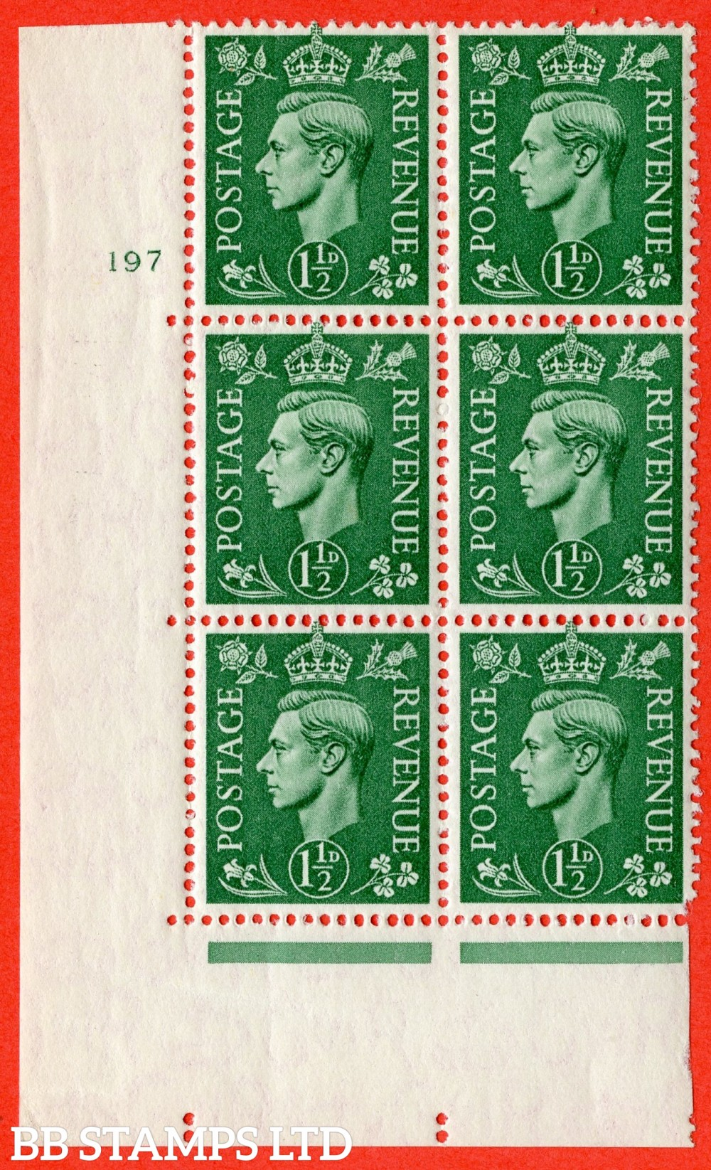 "SG. 505. Q9. 1½d Pale Green. A superb UNMOUNTED MINT "" No Control cylinder 197 no dot "" control block of 6 with perf type 5 E/I"
