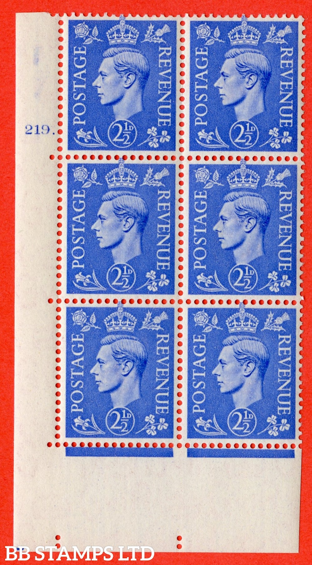 "SG. 489. Q14. 2½d Light ultramarine. A superb UNMOUNTED MINT "" No Control cylinder 219 no dot "" control block of 6 with perf type 5 E/I"