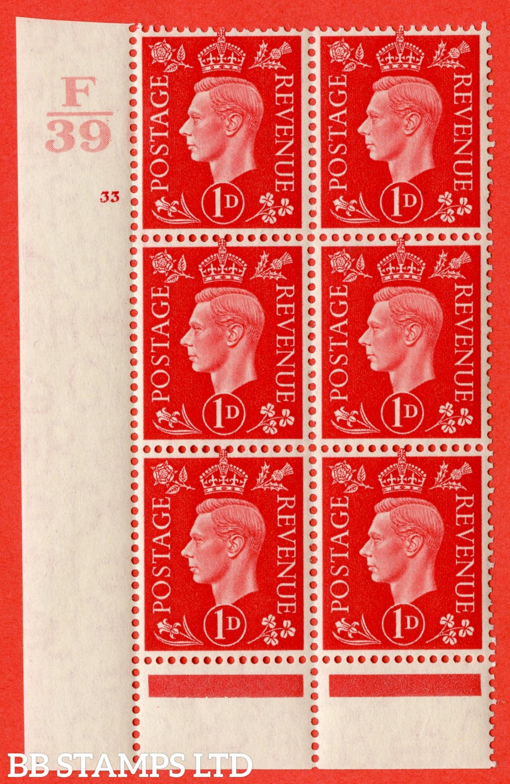"SG. 463. Q4. 1d Scarlet. A superb UNMOUNTED MINT "" Control F39 cylinder 33 no dot "" block of 6 with perf type 6 I/P."