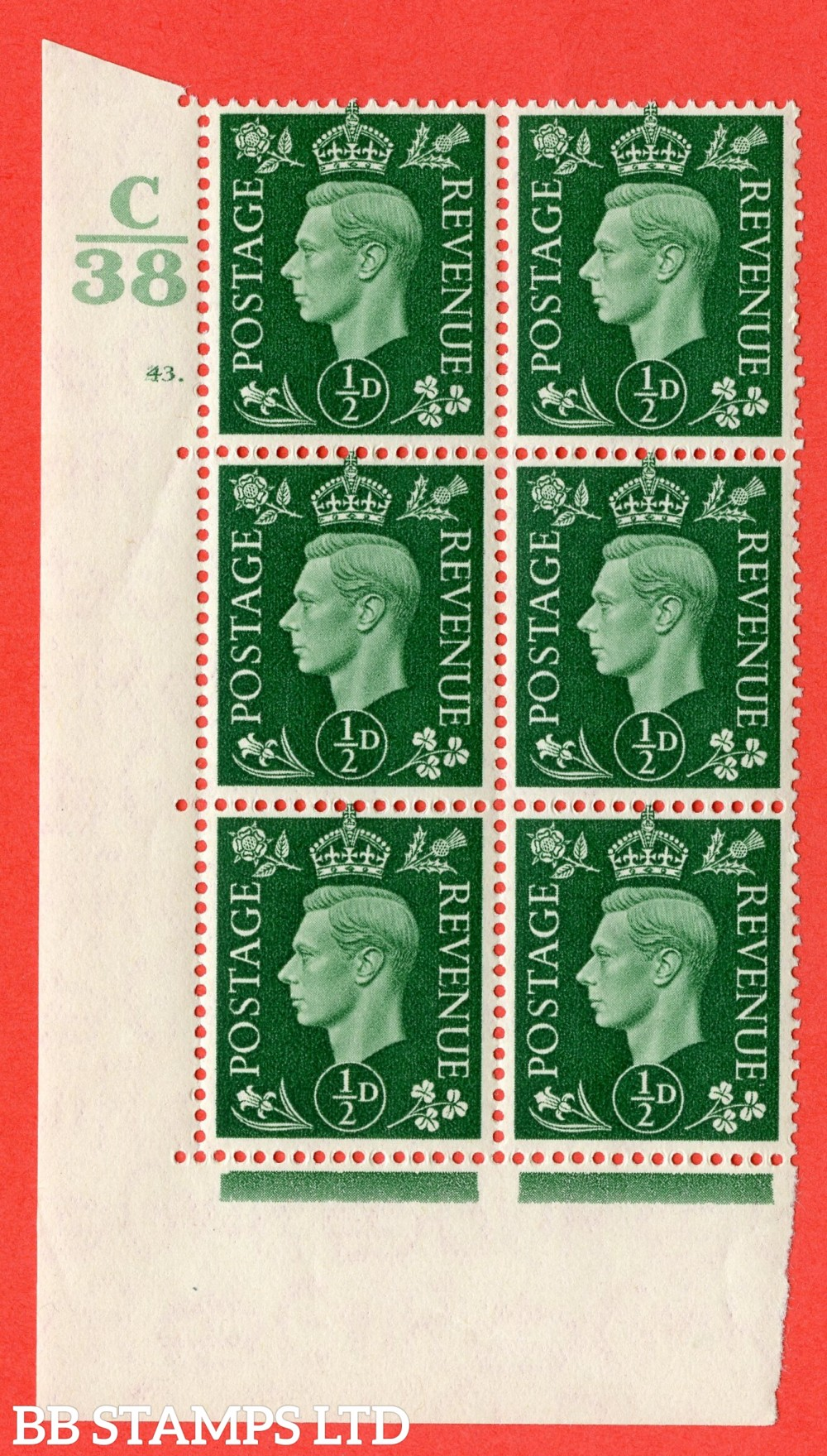 "SG. 462. Q1. ½d Green. A superb UNMOUNTED MINT "" Control C38 cylinder 43 (i) dot "" block of 6 with perf type 5 E/I."