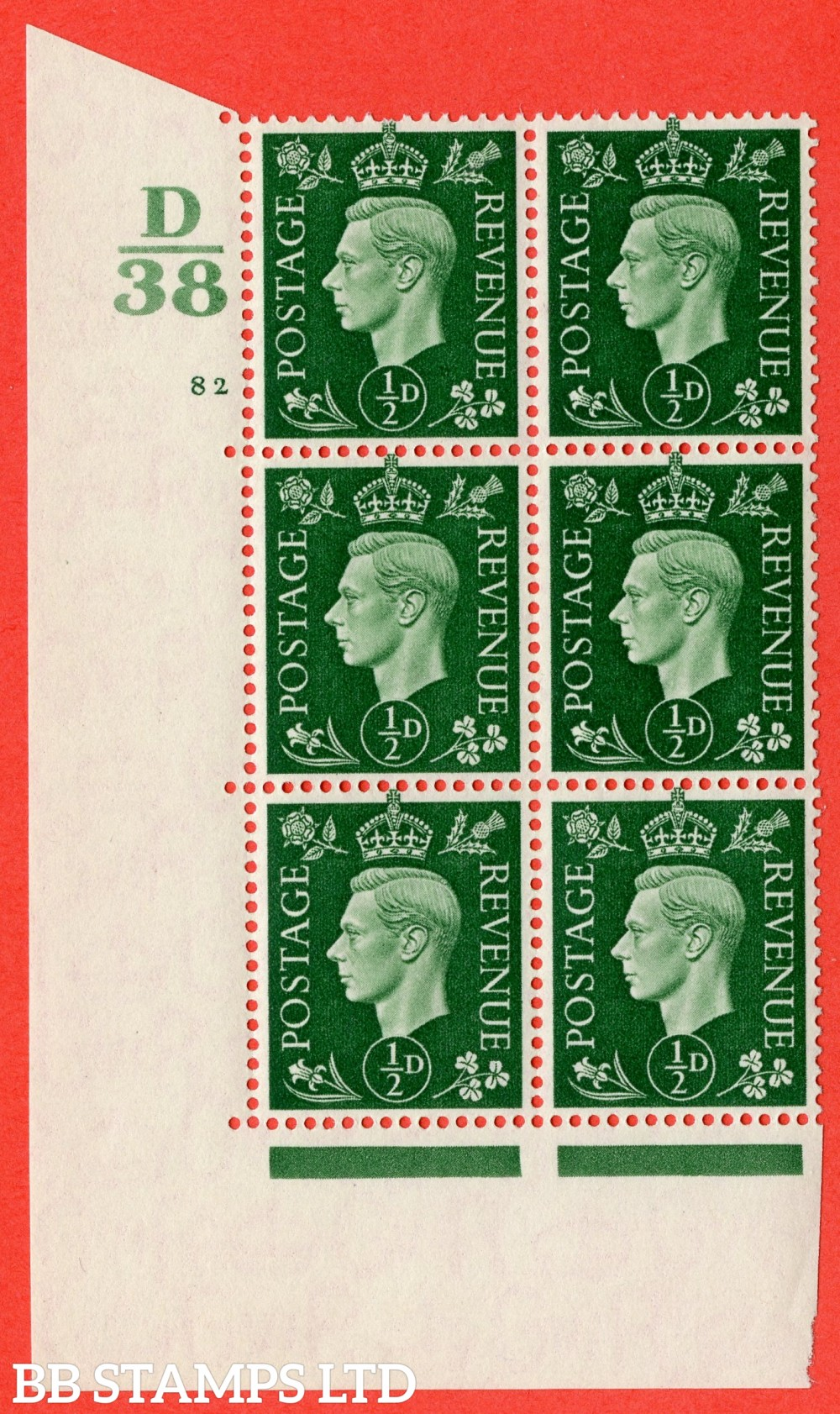 "SG. 462. Q1. ½d Green. A superb UNMOUNTED MINT "" Control D38 cylinder 82 no dot "" block of 6 with perf type 5 E/I."