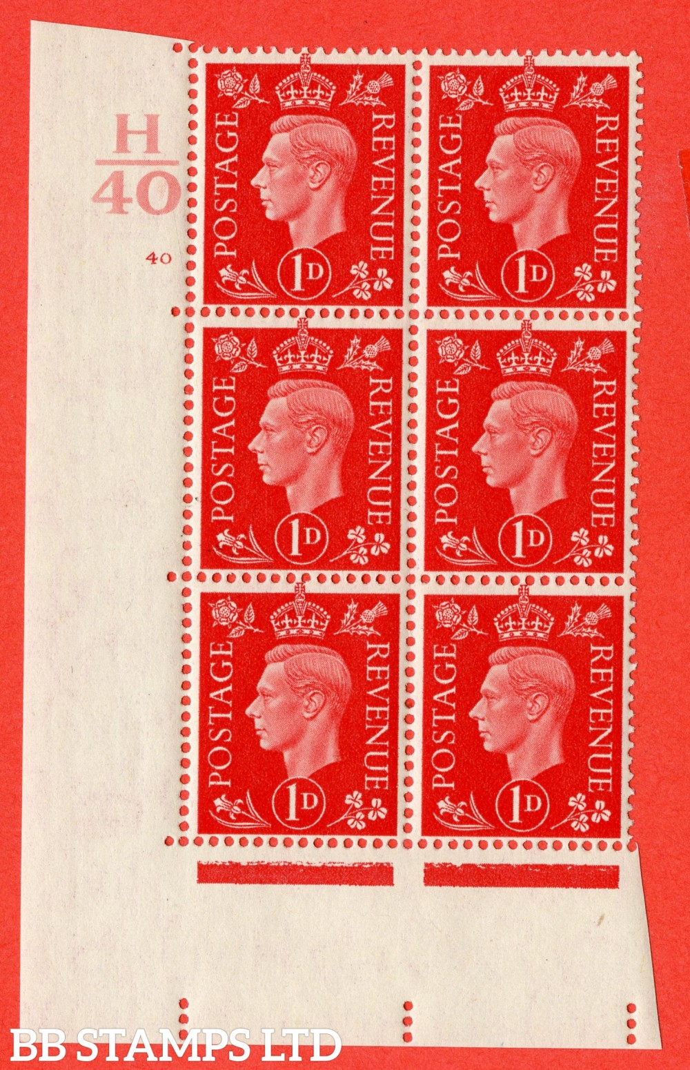 "SG. 463. Q4. 1d Scarlet. A superb UNMOUNTED MINT"" Control H40 cylinder 40 no dot "" block of 6 with perf type 5 E/I."