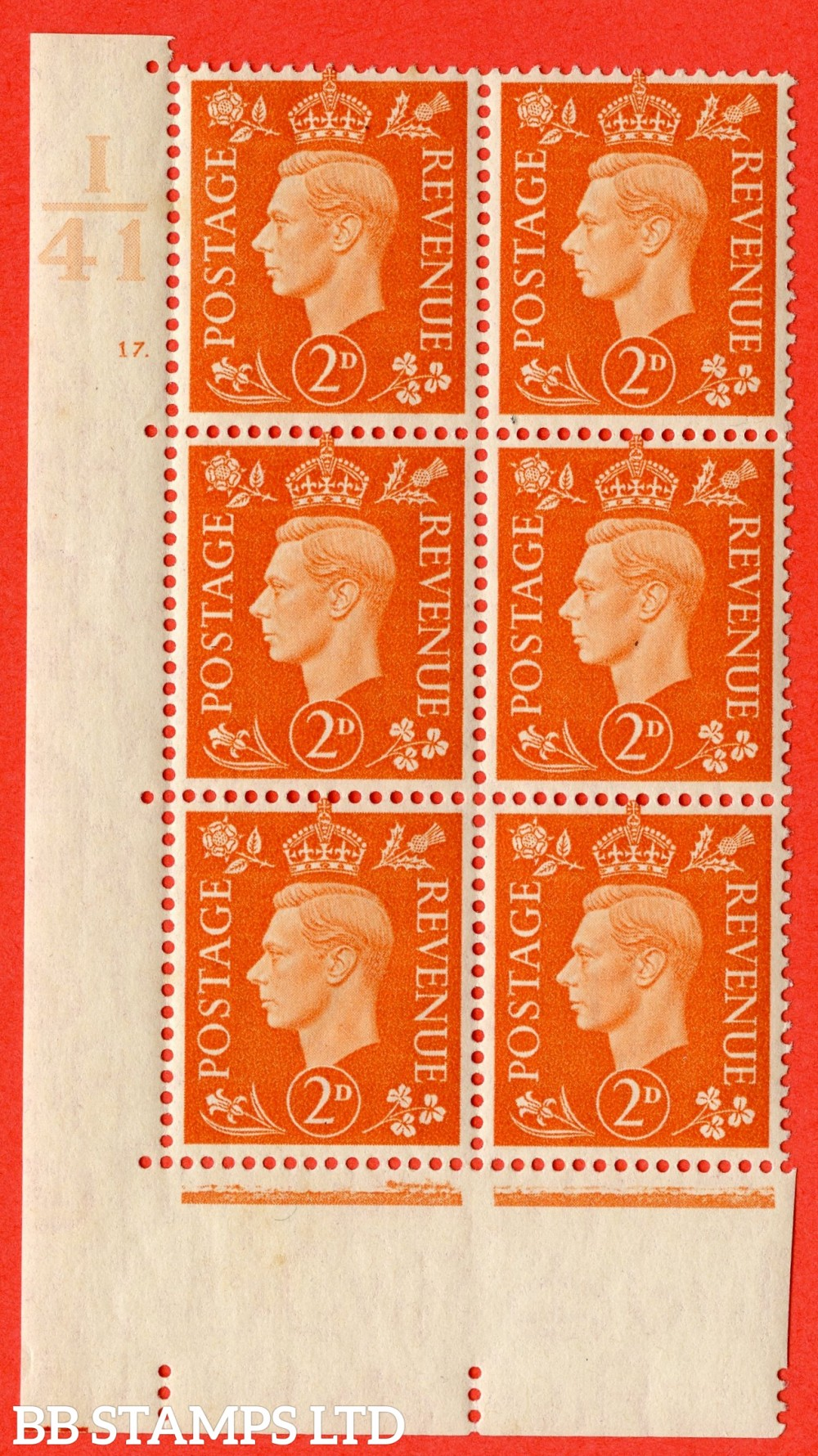 "SG. 465. Q10. 2d Orange. A superb UNMOUNTED MINT "" Control I41 cylinder 17 dot "" control block of 6 with perf type 5 E/I."