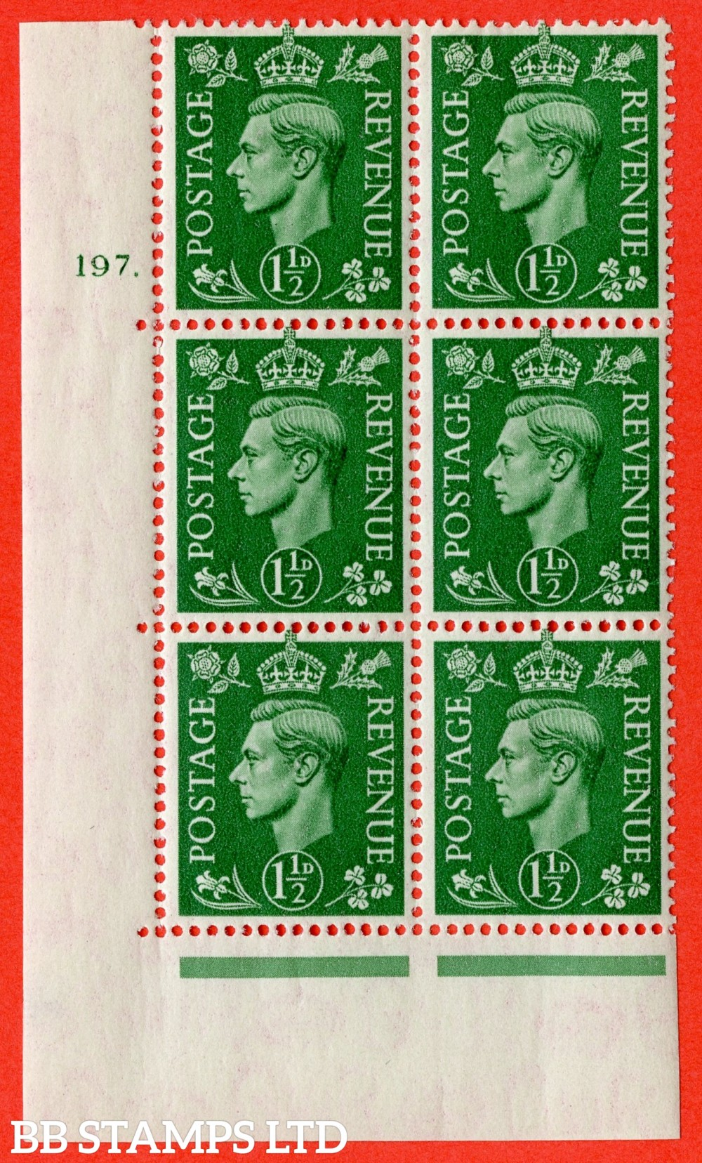 "SG. 505. Q9. 1½d Pale Green. A superb UNMOUNTED MINT "" No Control cylinder 197 dot "" control block of 6 with perf type 5 E/I"