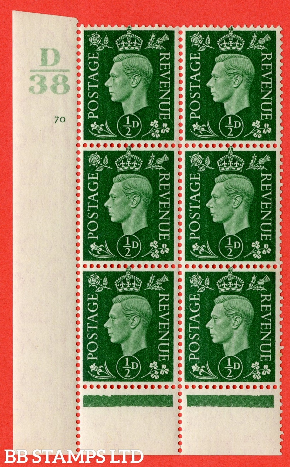 "SG. 462. Q1. ½d Green. A fine lightly mounted mint "" Control D38 cylinder 70 no dot "" block of 6 with perf type 6 I/P with marginal rule."