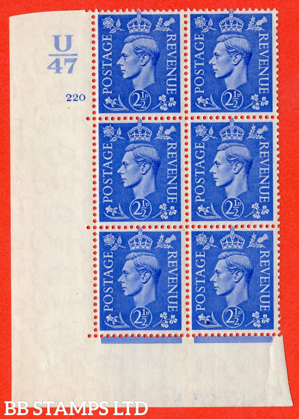 "SG. 489. Q14. 2½d Light ultramarine. A superb UNMOUNTED MINT "" Control U47 cylinder 220 no dot "" control block of 6 with perf type 5 E/I"