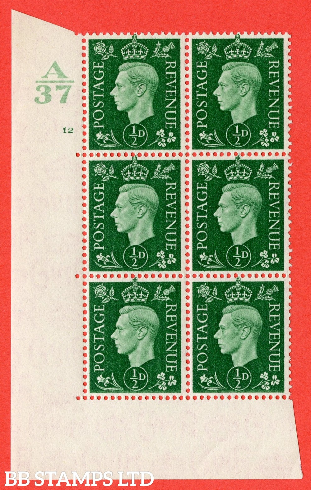 "SG. 462. Q1. ½d Green. A superb UNMOUNTED MINT "" Control A37 cylinder 12 no dot "" block of 6 with perf type 5 E/I without marginal rule."