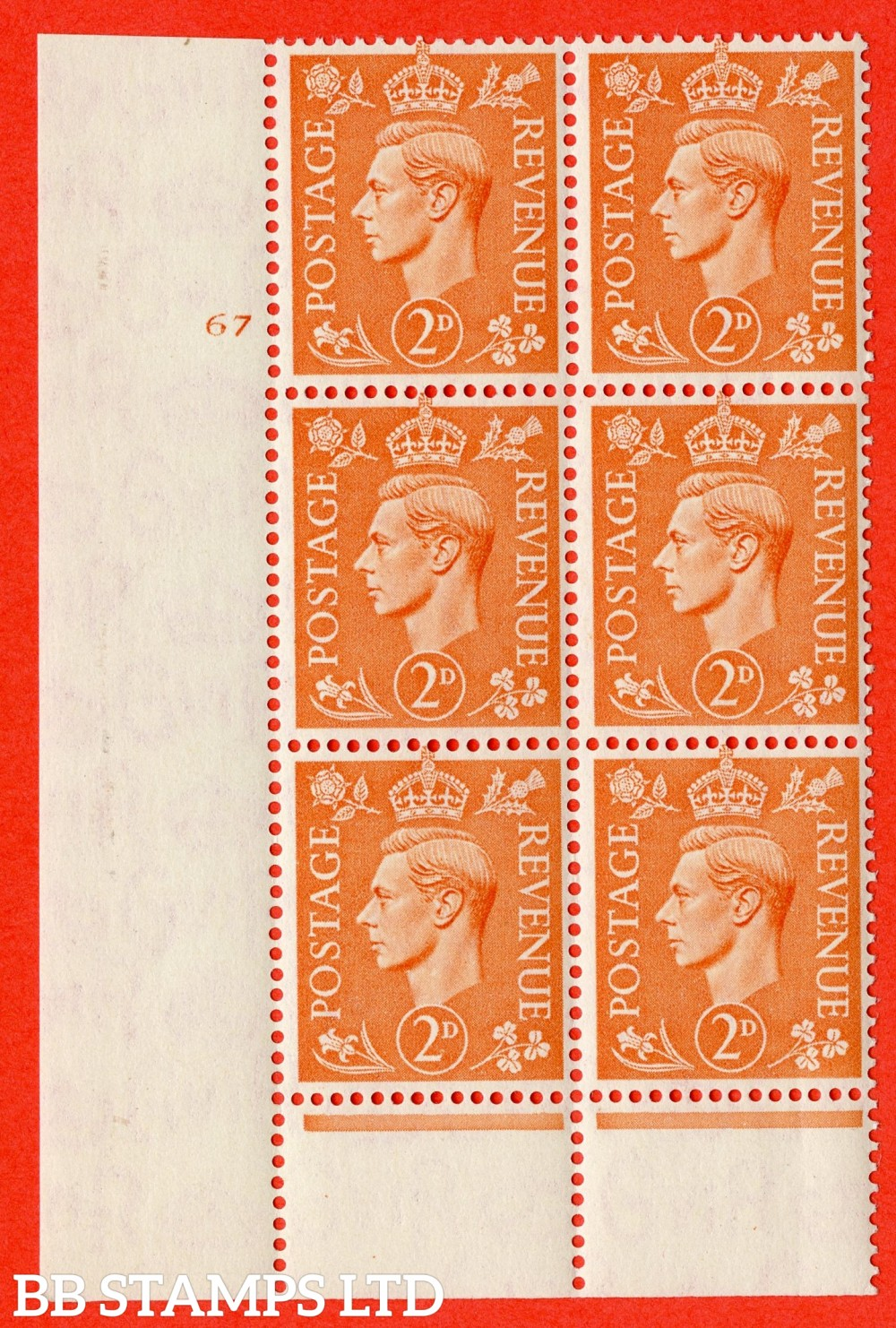 "SG. 488. Q11. 2d Pale Orange. A superb UNMOUNTED MINT "" No Control cylinder 67 no dot "" control block of 6 with perf type 6 I/P"