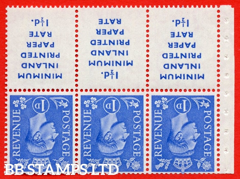 """SG. 504dw. QB18a. 1d ultramarine. A fine MOUNTED MINT example with """" MINIMUM INLAND PRINTED PAPER RATE """" 17 mm high. Perf type """" Ieb """". Good Perf."""