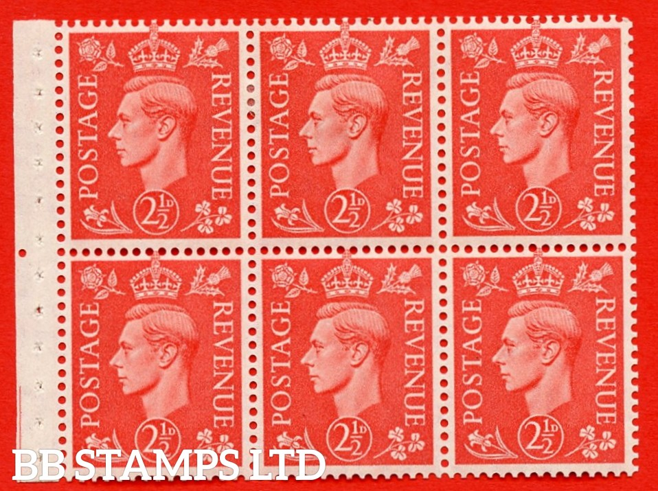 "SG. 507 c. QB34. 2½d pale scarlet. A fine MOUNTED MINT Booklet pane of 6. Perf type "" Iem "". Good Perfs."