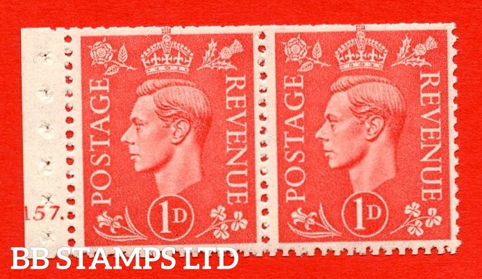 SG. 486. QB14a. 1d Pale scarlet. A fine UNMOUNTED MINT complete cylinder pane of 2 157 Dot. Perf type ' E '. Trimmed Perfs.