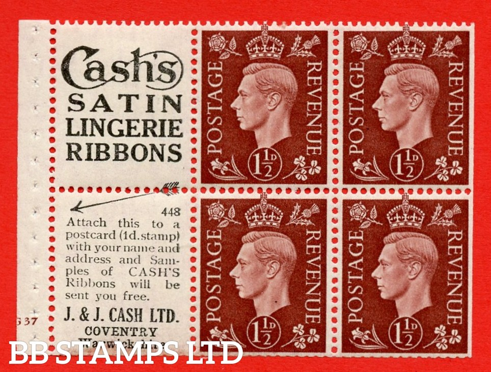"""QB23 Perf Type B3(I) (3) No. 448  1½d Red-Brown x 6 Pane, MOUNTED MINT.Cylinder Pane G37 no dot ( SG. 464b ) Perf type B3(I). """"Cash's satin lingerie ribbons / Coventry, Warwickshire"""" at foot. Trimmed Perfs."""