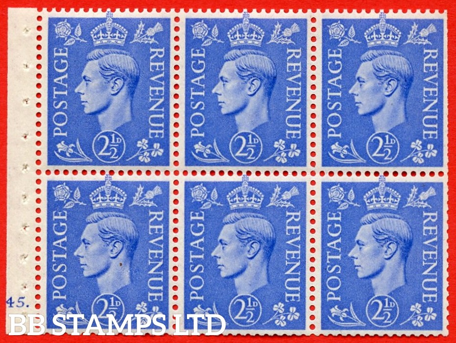 """SG. 489f. QB33. 2½d blue. A fine UNMOUNTED MINT complete Cylinder pane of 6 J45 dot. Perf type """"B6(IE)"""". Trimmed Perfs."""