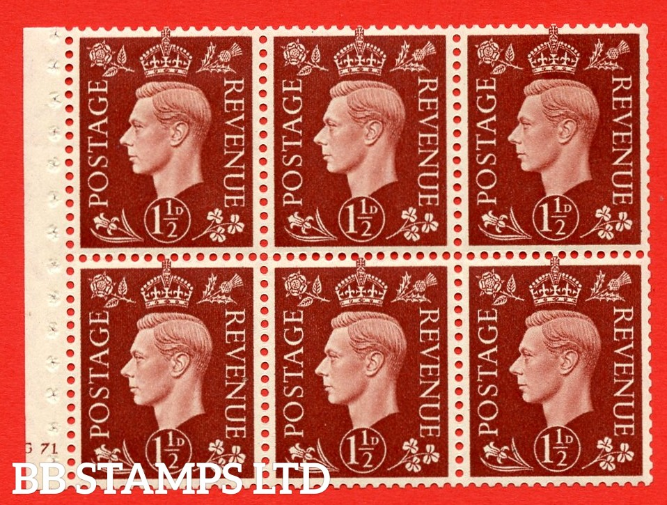 QB21 Perf Type B3(I) 1½d Red-Brown x 6 Pane, MOUNTED MINT Watermark Upright. Cylinder Pane G71 no dot ( SG. 464c ) Perf type B3(I). Good Perfs.