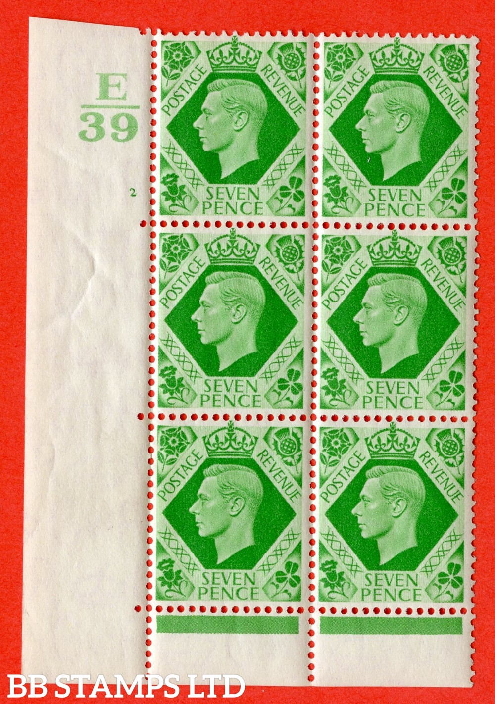 """SG. 471. Q23. 7d Emerald-Green. A superb UNMOUNTED MINT """" Control E39. Cylinder 2 no dot """" control block of 6 with perf type 6B E/P."""