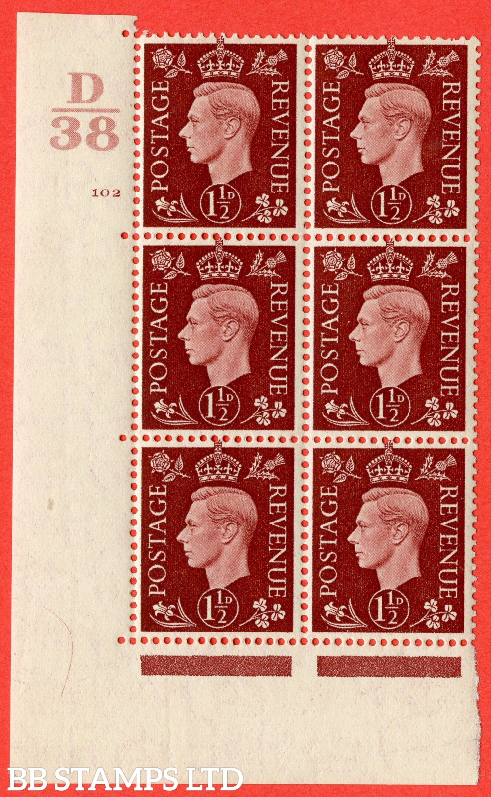 """SG. 464. Q7. 1½d Red-Brown. A superb UNMOUNTED MINT  """" Control D38 cylinder 102 no dot """" block of 6 with perf type 5 E/I."""
