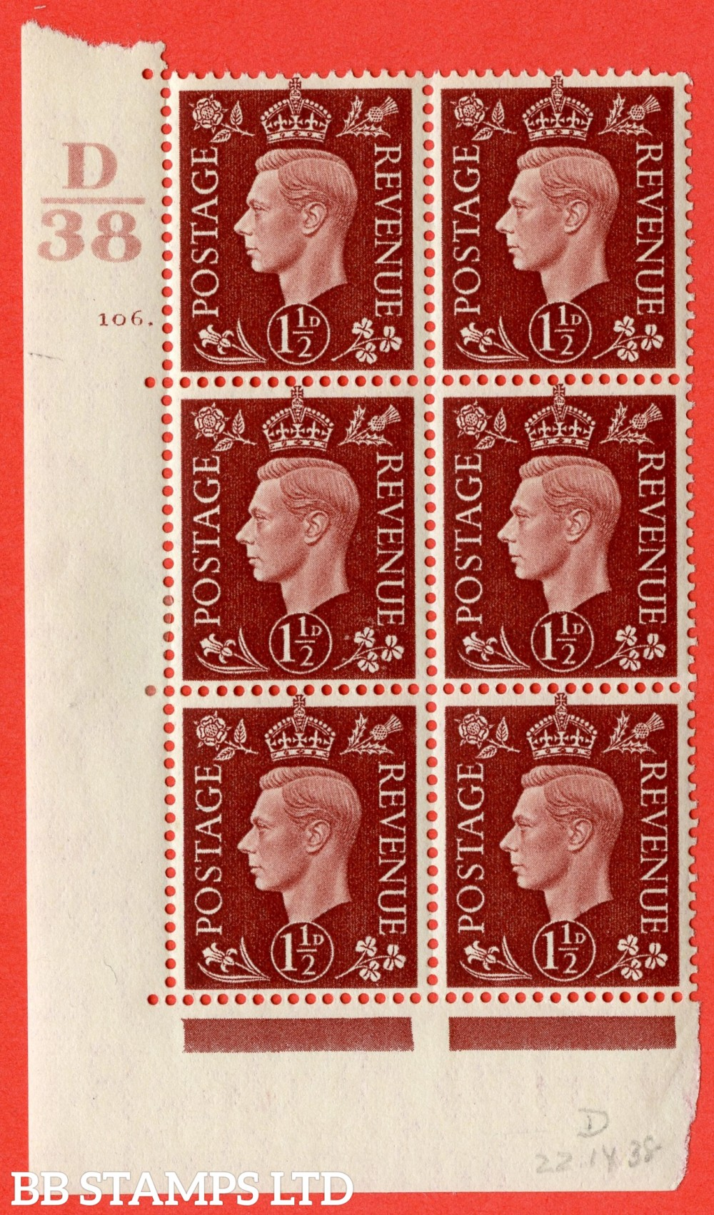 """SG. 464. Q7. 1½d Red-Brown. A fine lightly mounted mint """" Control D38 cylinder 106 dot """" block of 6 with perf type 5 E/I."""