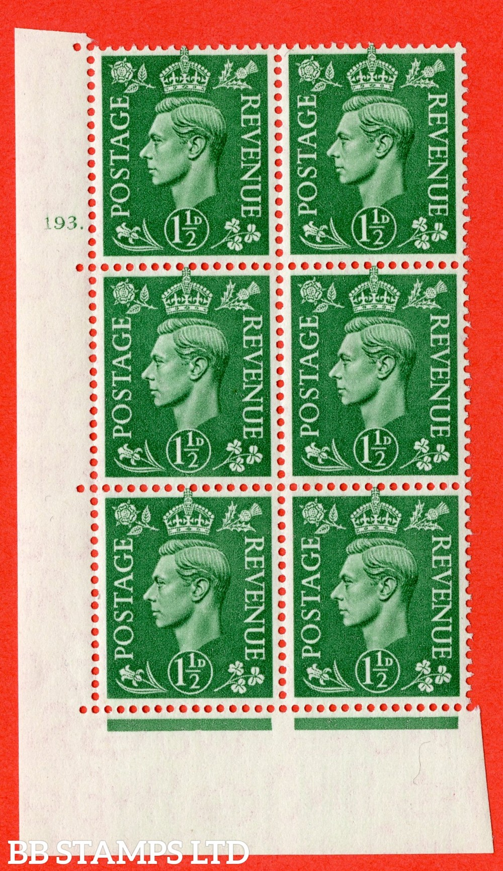 """SG. 505. Q9. 1½d Pale Green. A fine lightly mounted mint """" No Control cylinder 193 dot """" control block of 6 with perf type 5 E/I"""