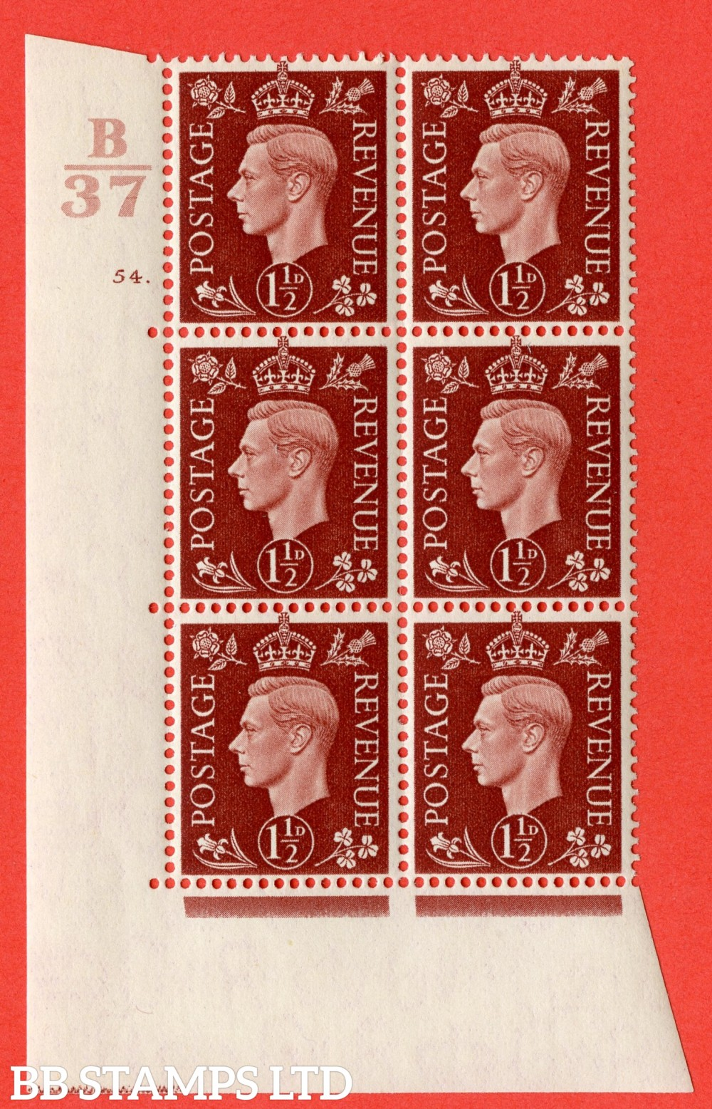 """SG. 464. Q7. 1½d Red-Brown. A fine lightly mounted mint """" Control B37 cylinder 54 dot """" block of 6 with perf type 5 E/I."""