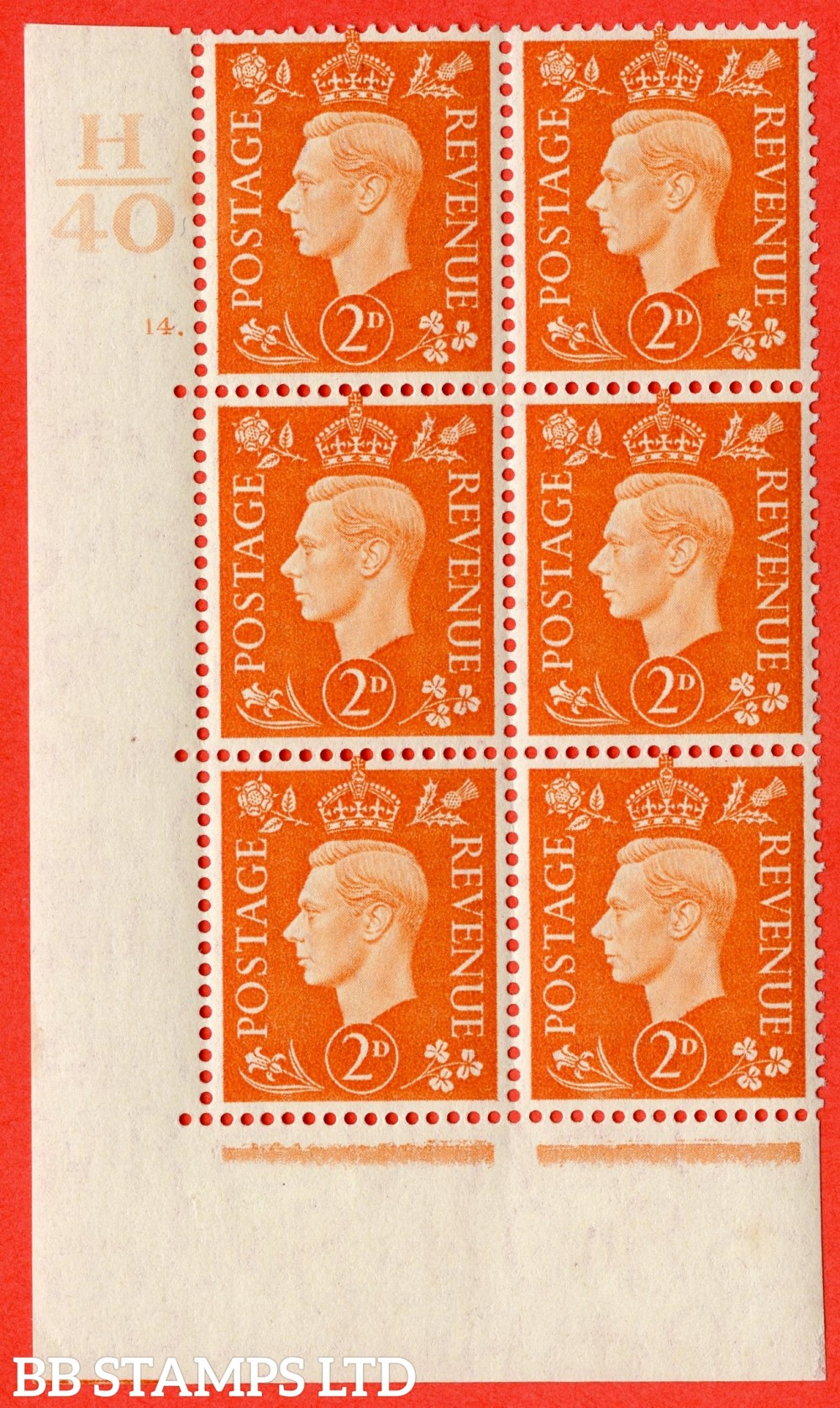 "SG. 465. Q10. 2d Orange. A fine lightly mounted mint "" Control H40 cylinder 14 dot "" control block of 6 with perf type 5 E/I."