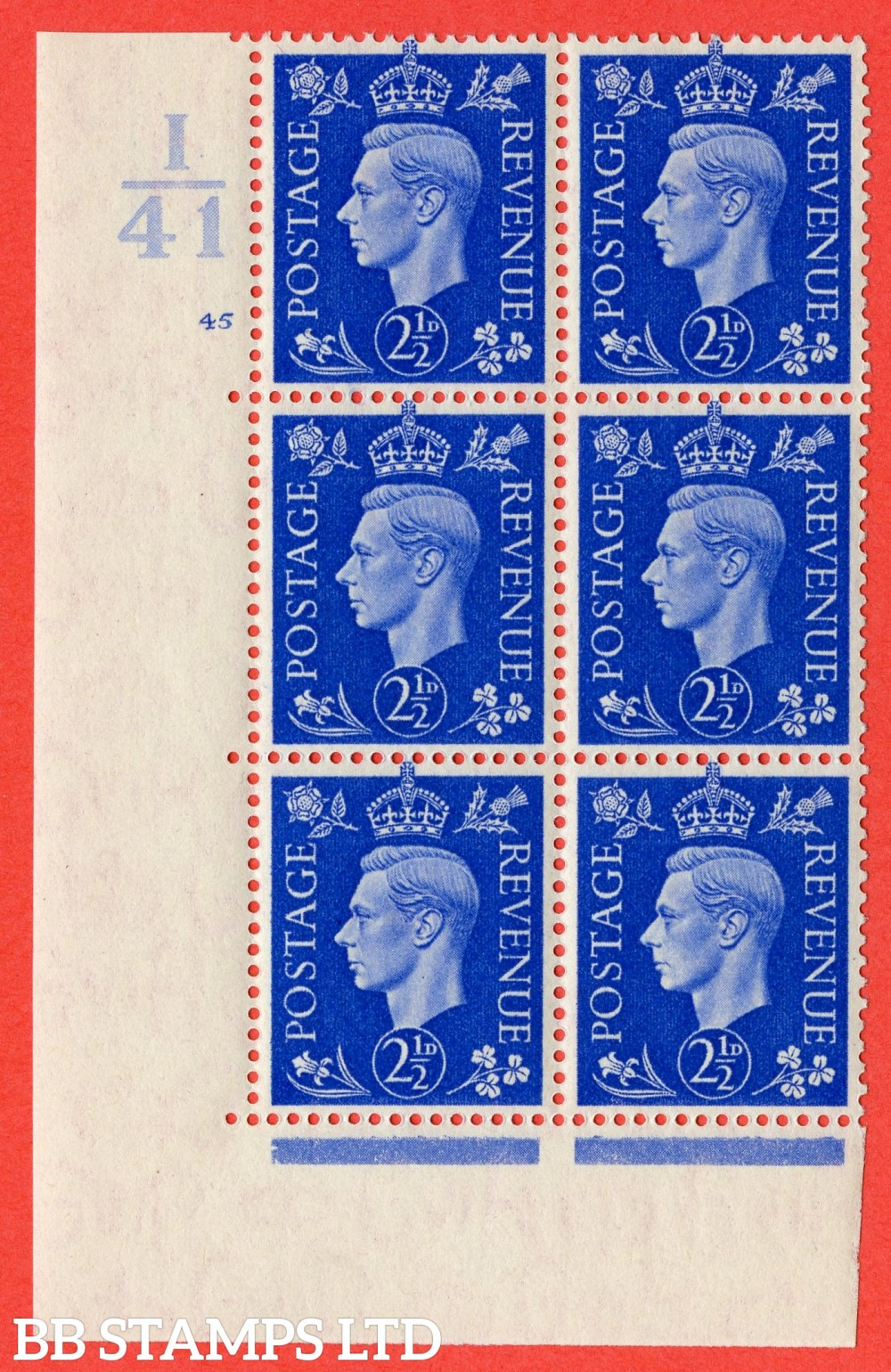 "SG. 466. Q13. 2½d Ultramarine. A superb UNMOUNTED MINT "" Control I41 cylinder 45 no dot "" control block of 6 with perf type 5 E/I."